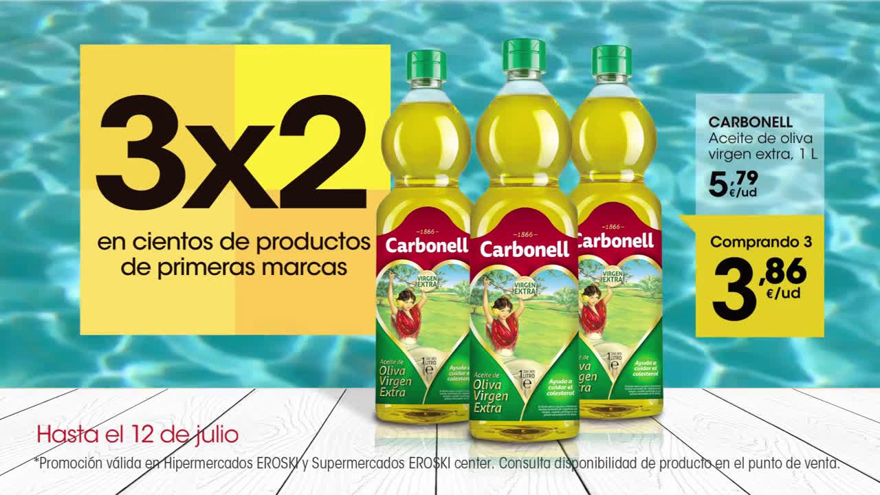 Eroski 3x2 en cientos de productos anuncio
