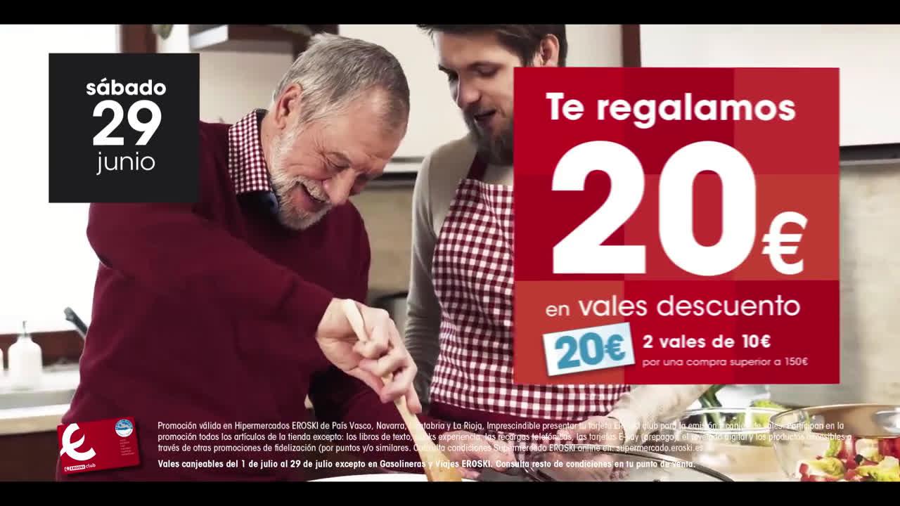 Eroski ¡Te regalamos hasta 50 € en vales descuento! anuncio