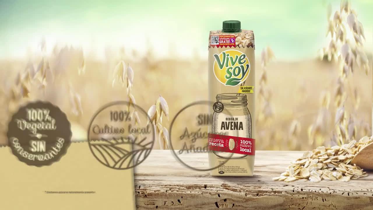 Vive Soy Prueba nuestra nueva bebida de Avena 100% cultivo local anuncio
