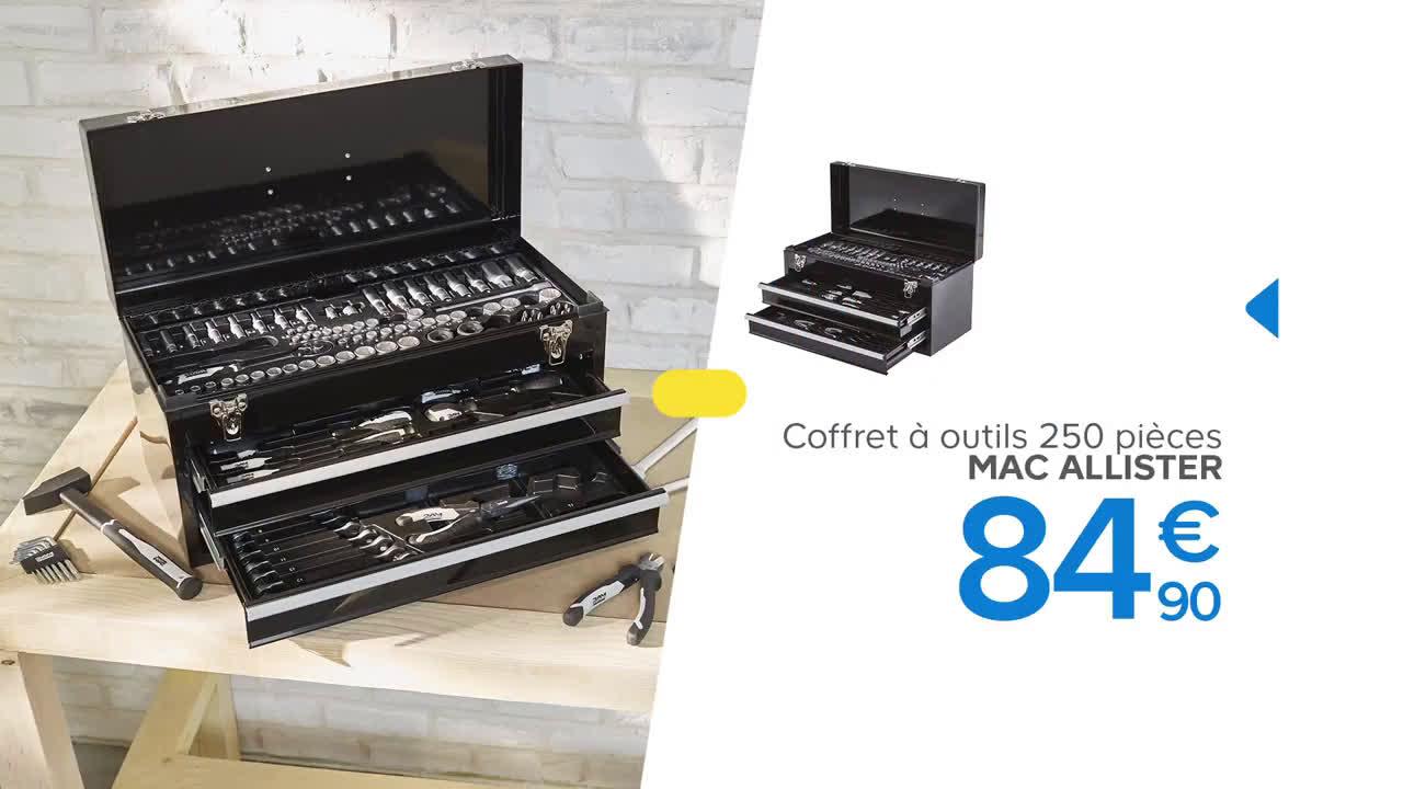 video castorama coffret d 39 outils mac allister 250 pi ces mac allister pub. Black Bedroom Furniture Sets. Home Design Ideas